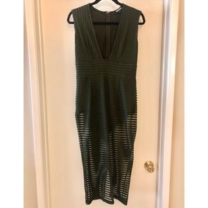 Missguided Olive Striped Bodycon Dress